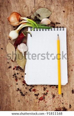 notepad for recipes and spices...