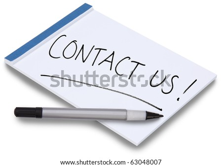 Notepad isolated with handwritten Contact Us on a white sheet of paper with blue binding and a pen lying on the paper.