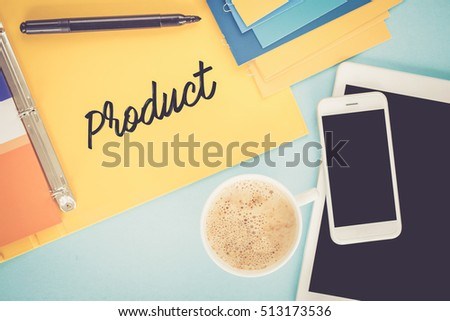 Notepad on workplace table and written PRODUCT concept Photo stock ©