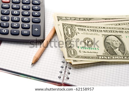 Notepad, pencil, dollar isolated on white