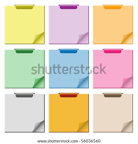 Notepad set in assorted colors with page curled up, clip at top of pad and ample copy space for text. Vector also available.