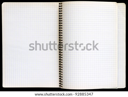 Notepad with a spiral binding and checkered sheets.
