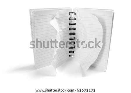 Notepad with Crumpled Pages on White Background