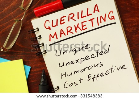 Notepad with guerilla marketing.