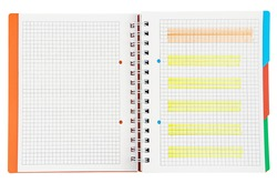 Notepad with Highlighted Markings on Isolated White Background. Scribblings Notebook with Bookmarks.