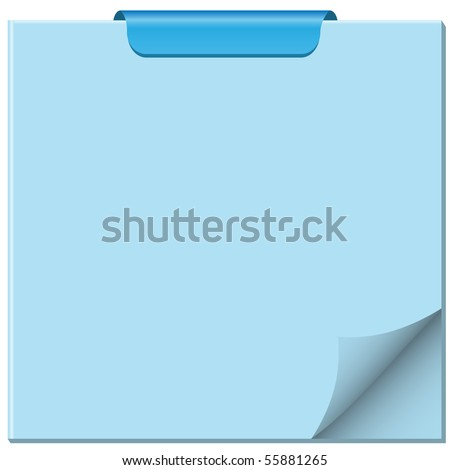 Notepad with page curled up, clip at top of pad and ample copy space for text. Vector also available.