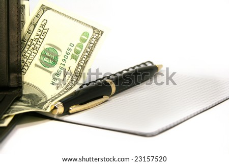 notepad with pen and purse with money