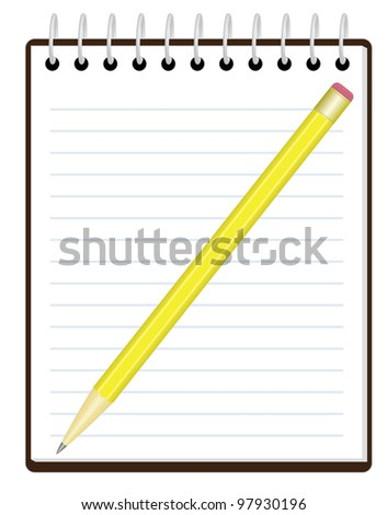notepad with pencil over white illustration