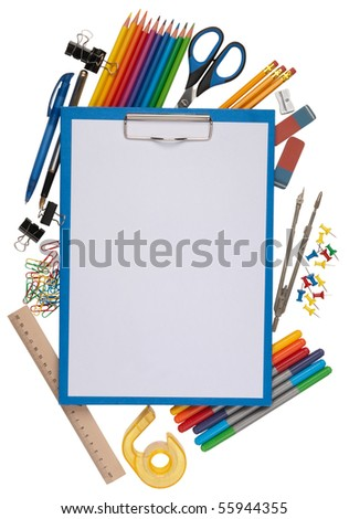 notepad with stationary objects in the background