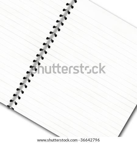 notepad with striped office paper on a white background