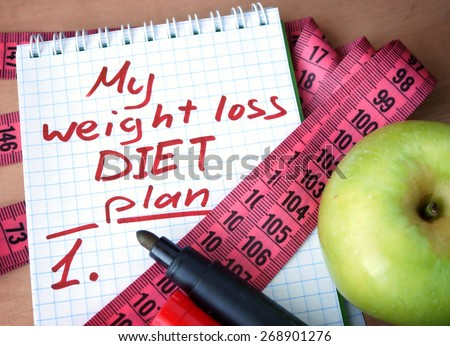 Notepad with weight loss diet plan and measuring tape.