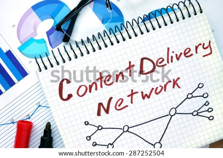 Notepad with words Cdn  Content Delivery Network on a wooden background