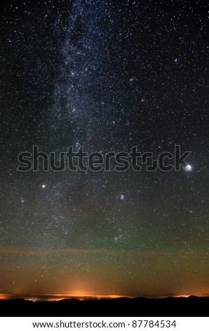 Nothern part of Milky Way over city lights