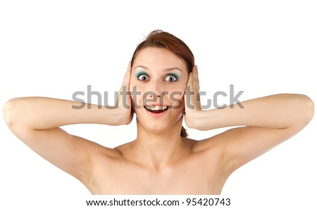 Nothing hear smiling amazed woman