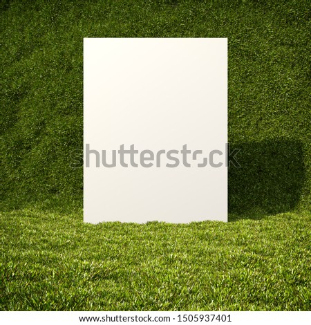 Notice board on background of green grass, template for corporation advertising, 3D illustration, rendering.