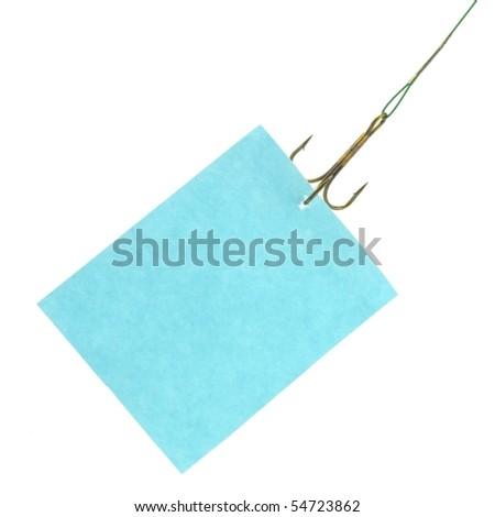 notice hanging on hook isolated on white background - stock photo