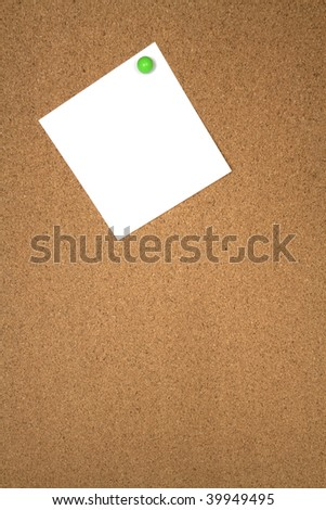 Noticeboard with single blank note for copy space