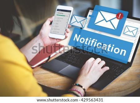 Notification Alert Digital Icon Internet Network Concept