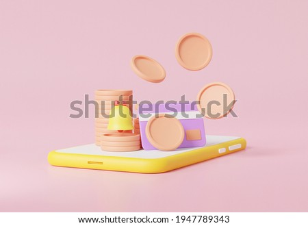 Notification bell Floating money concept into credit card in apppication on smartphone, pastel background illustration minimal style, 3d rendering ,bander, advertising Zdjęcia stock ©