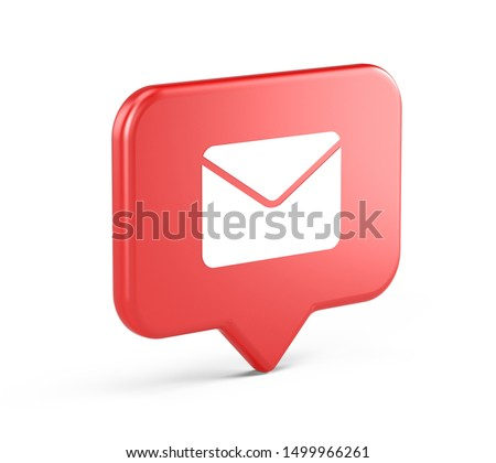 Notification icon with mail symbol. 3d rendering