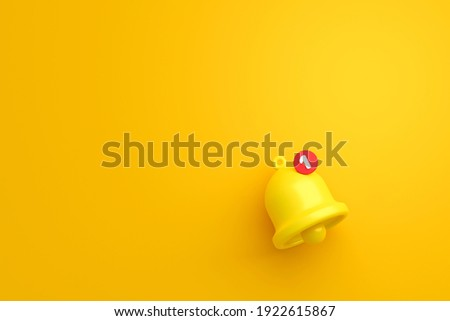 Notification message bell icon alert and alarm on yellow background with smartphone reminder. 3D rendering. Foto stock ©