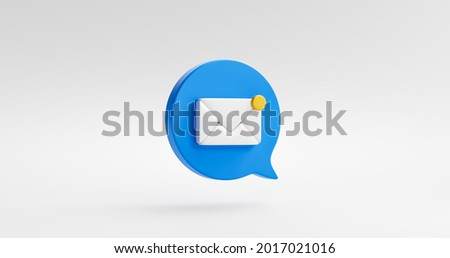 Notification message blue icon bubble symbol or new contact alert chat and web flat design isolated on white background with social communication email reminder notice. 3D rendering.