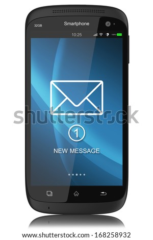 Notification of SMS on display modern touchscreen smartphone