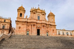 Noto Cathedral (Cattedrale di Noto, Cattedrale di San Nicolo) with a staircase in Sicily, Italy