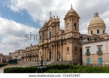 Noto Cathedral in Noto, Sicily, Italy, dedicated to Saint Nicholas of Myra, decorated in Sicilian Baroque, began in the early 18th century, completed in 1776. #516453487