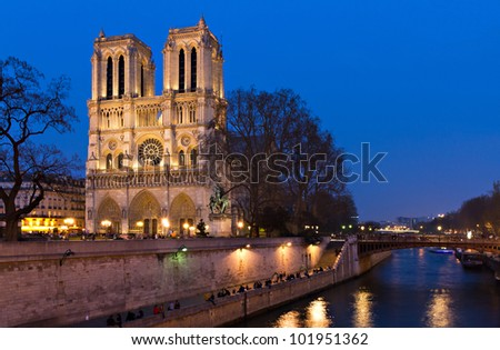 Notre Dame at the river Seine during twilight, Paris, France
