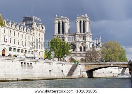 Notre Dame cathedral and petit pont litle bridge Paris