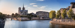 Notre Dame cathedral and River Seine in Paris, France