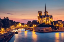 Notre Dame cathedral at sunset, France. Notre Dame de Paris, most beautiful Cathedral in Paris. Picturesque sunset over Cathedral of Notre Dame de Paris, destroyed in a fire in 2019, Paris.