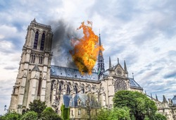 Notre Dame Cathedral burning by massive fire, representation