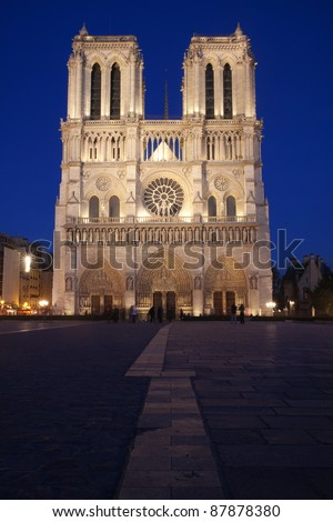 Notre Dame cathedral in Paris by night