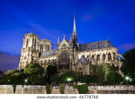 Notre Dame Cathedral in Paris France at night