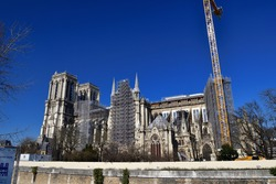 Notre Dame Cathedral in Paris under reconstruction, March 7, 2021.