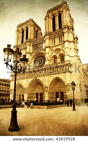 notre dame cathedral   retro...