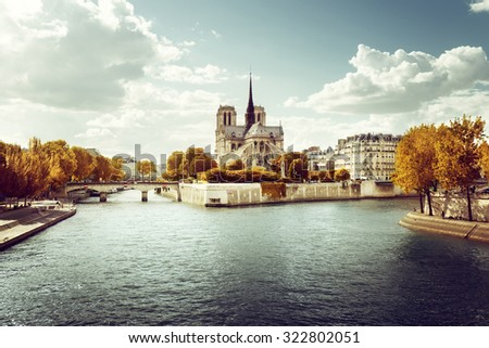notre dame church in paris and...