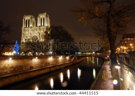Notre Dame church over the Siene River