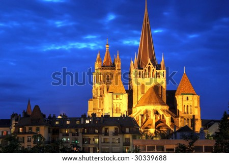 Notre-Dame de Lausanne at night, Switzerland (HDR image)