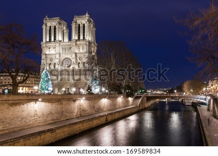 Notre Dame de Paris at night France