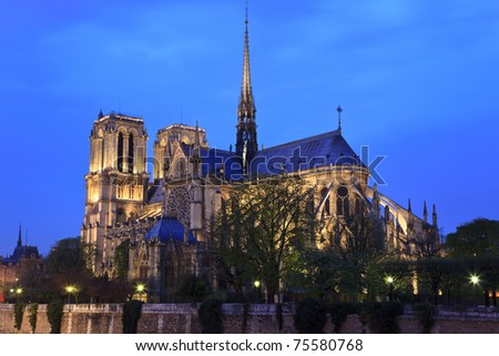 Notre Dame de Paris at night. View on cathedral across the Seine river.