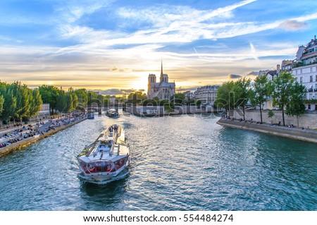 Notre Dame de Paris Cathedral and Seine River Stock photo ©