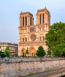 Notre-Dame de Paris Cathedral at sunset, France