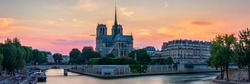 Notre Dame de Paris cathedral at sunset, France. Notre Dame de Paris, most beautiful Cathedral in Paris. Picturesque sunset over Cathedral of Notre Dame de Paris, destroyed in a fire in 2019.