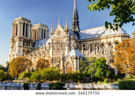 Notre Dame de Paris cathedral, France. Gothic architecture in summer.