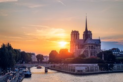 Notre Dame de Paris cathedral, France. Notre Dame de Paris Cathedral, most beautiful Cathedral in Paris. Picturesque sunset over Cathedral of Notre Dame de Paris, destroyed in a fire in 2019