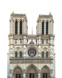 Notre Dame de Paris Cathedral isolated on white background. French Gothic architecture