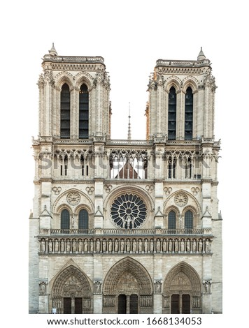Notre Dame de Paris Cathedral isolated on white background. French Gothic architecture Stock foto ©